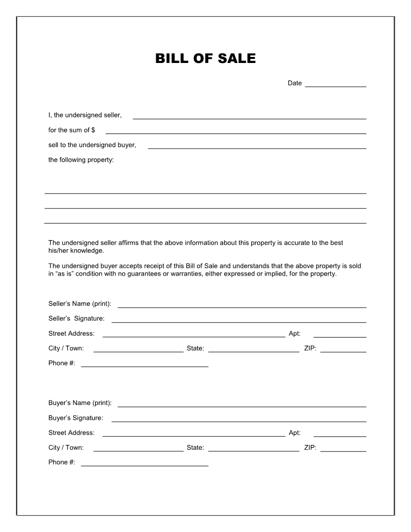 Free Printable Blank Bill Of Sale Form Template   As Is Bill Of Sale  Blank Document Free