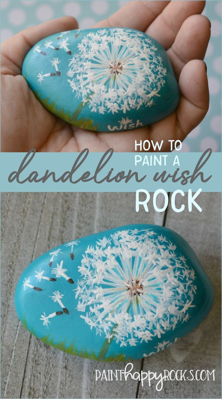 Craft Lightning | Wie malt man einen Löwenzahn Wish Rock – Paint Happy Rocks #c…