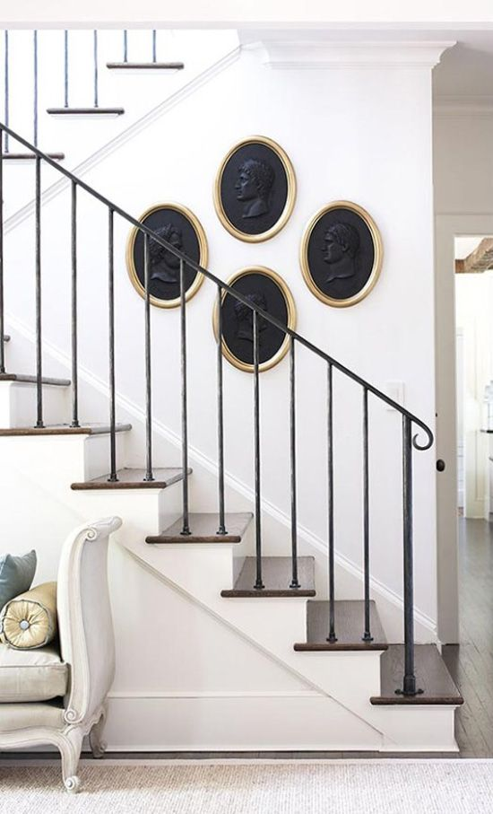 Transitional With Amy Morris Staircase Art Desiretoinspire Net   Modern Wrought Iron Stair Railing   Custom   Farmhouse   Decorative   Luxury   Outdoor