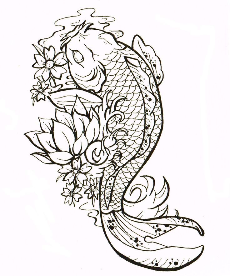 Cluster flower with koi fish design for tattoo google for Koi fish outline