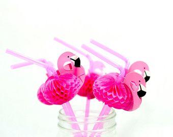 Flamingo Straws Set of 12/ Flamingo Bachelorette Party Decors/ Flamingo Honeycomb Straws/ Summer Pool Side Party Straws
