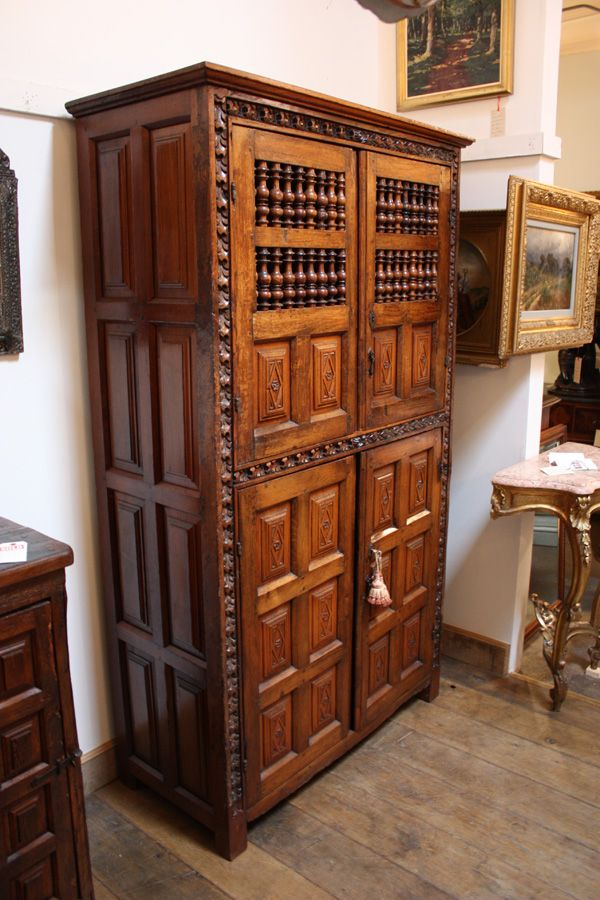 18th Century Hand Carved Spanish Cupboard Armoire
