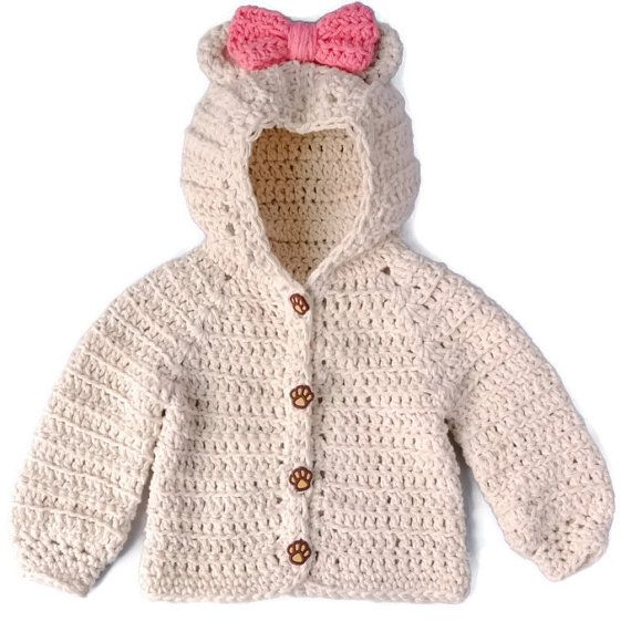 Crochet Baby Girl Sweater, Bear Hood Baby Sweater, Crochet Baby ...