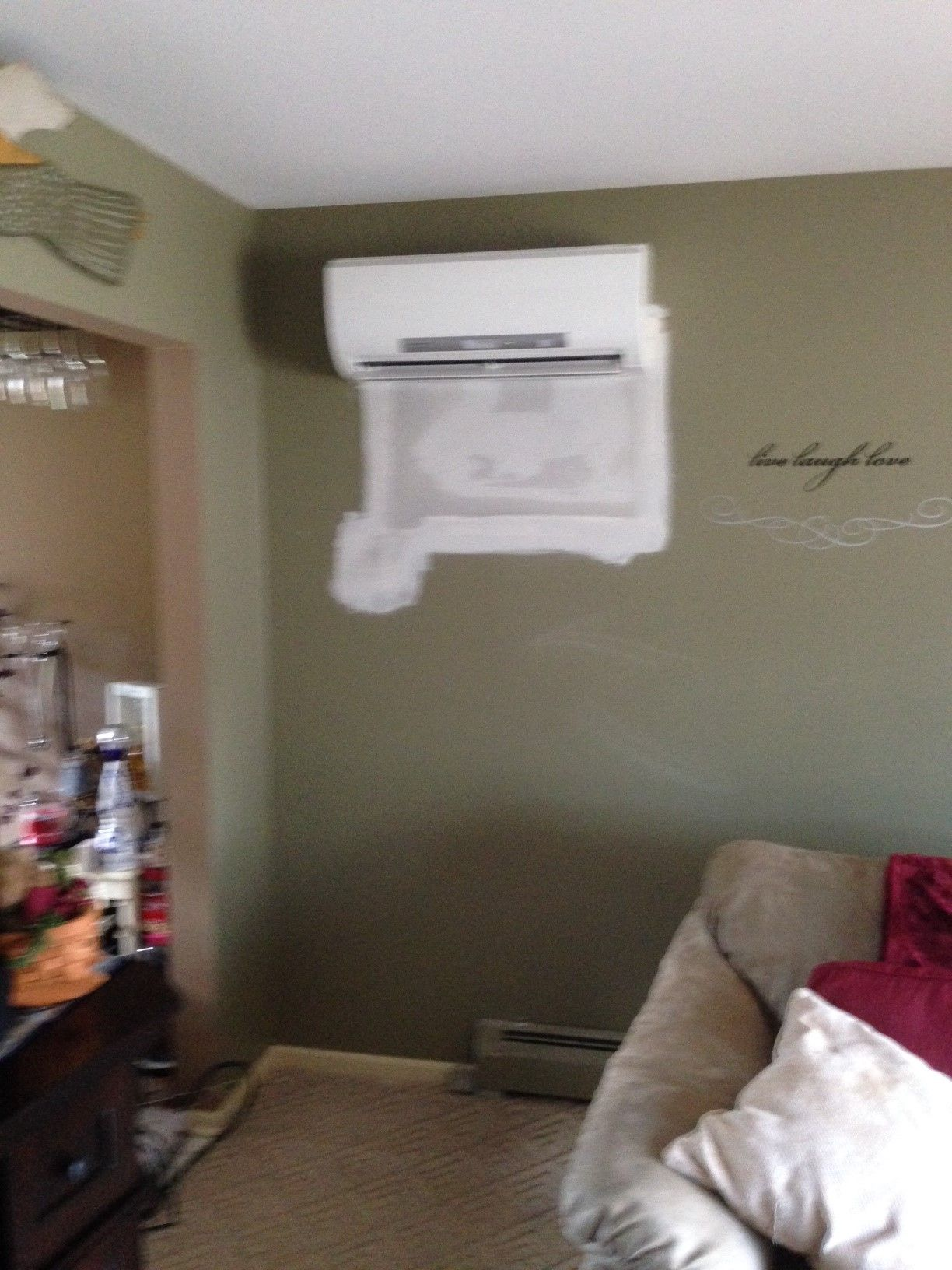 goodbye wall air conditioner. hello mitsubishi ductless heat pump