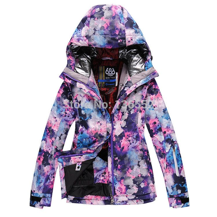 2014 womens 686 ski jacket purple blue flowers skiing jacket ... 01a3e1c53