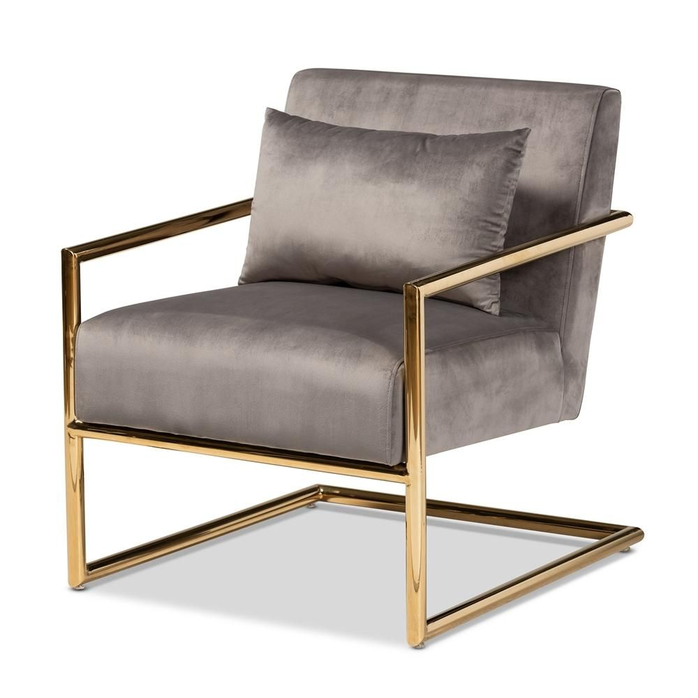 Photo of Mira Velvet Gold Finished Lounge Chair, Grey