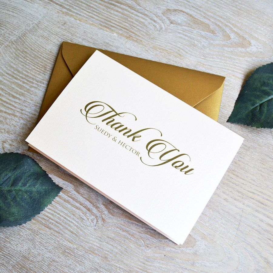 Personalized Thank You Cards Blush & Gold Custom Thank