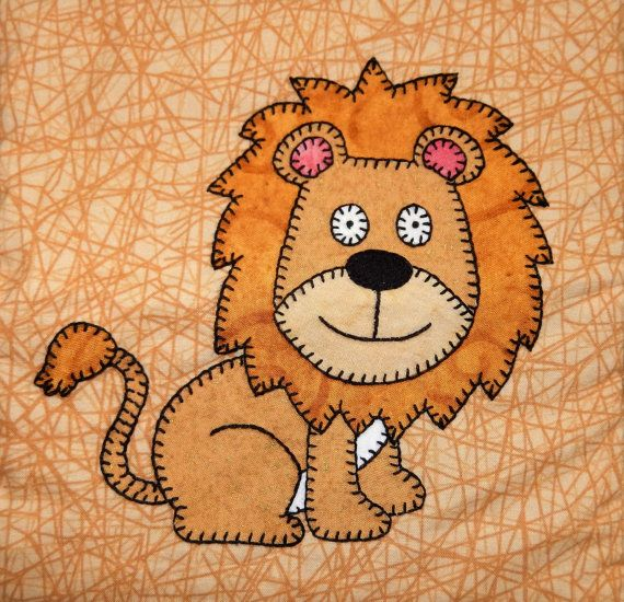 Lion PDF applique pattern; African safari animal PDF applique quilt ...