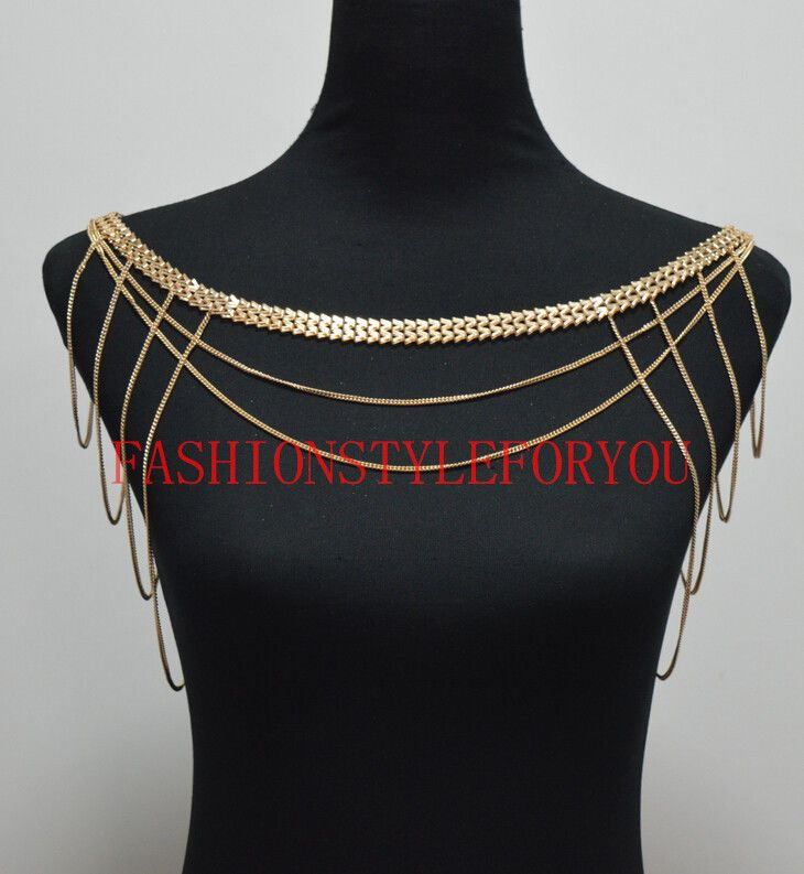 """Fashion Style S27 Women Gold Chains /""""W/"""" Chains Shoulder Chains Body Jewelry"""