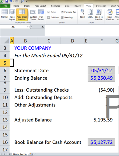 bank reconciliation template  5 easy steps to balance your