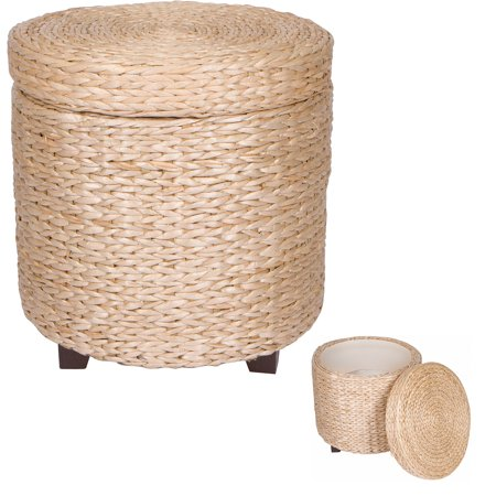 Terrific 17 Inch Round Storage Ottoman Footstool Wood And Woven Creativecarmelina Interior Chair Design Creativecarmelinacom