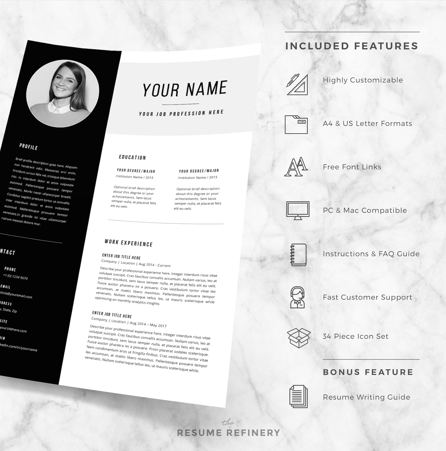 Bonus Letter Template Modern 2 Page Resume  Cover Letter Template For Word  Bonus Resume .