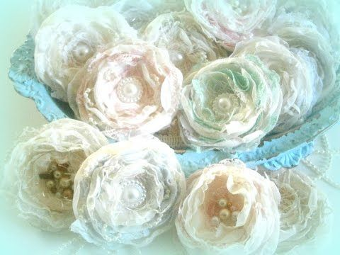 Shabby Chic Flower Tutorial Tattered Chic Blooms Youtube Using Singed Rounds Chic Flowers Shabby Chic Flowers Lace Flowers Tutorial