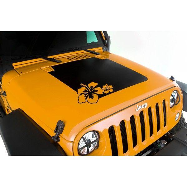 Hood Decal Hibiscus 07 16 Jeep Wrangler Jk Jeep Stickers Jeep Wrangler Jk Jeep