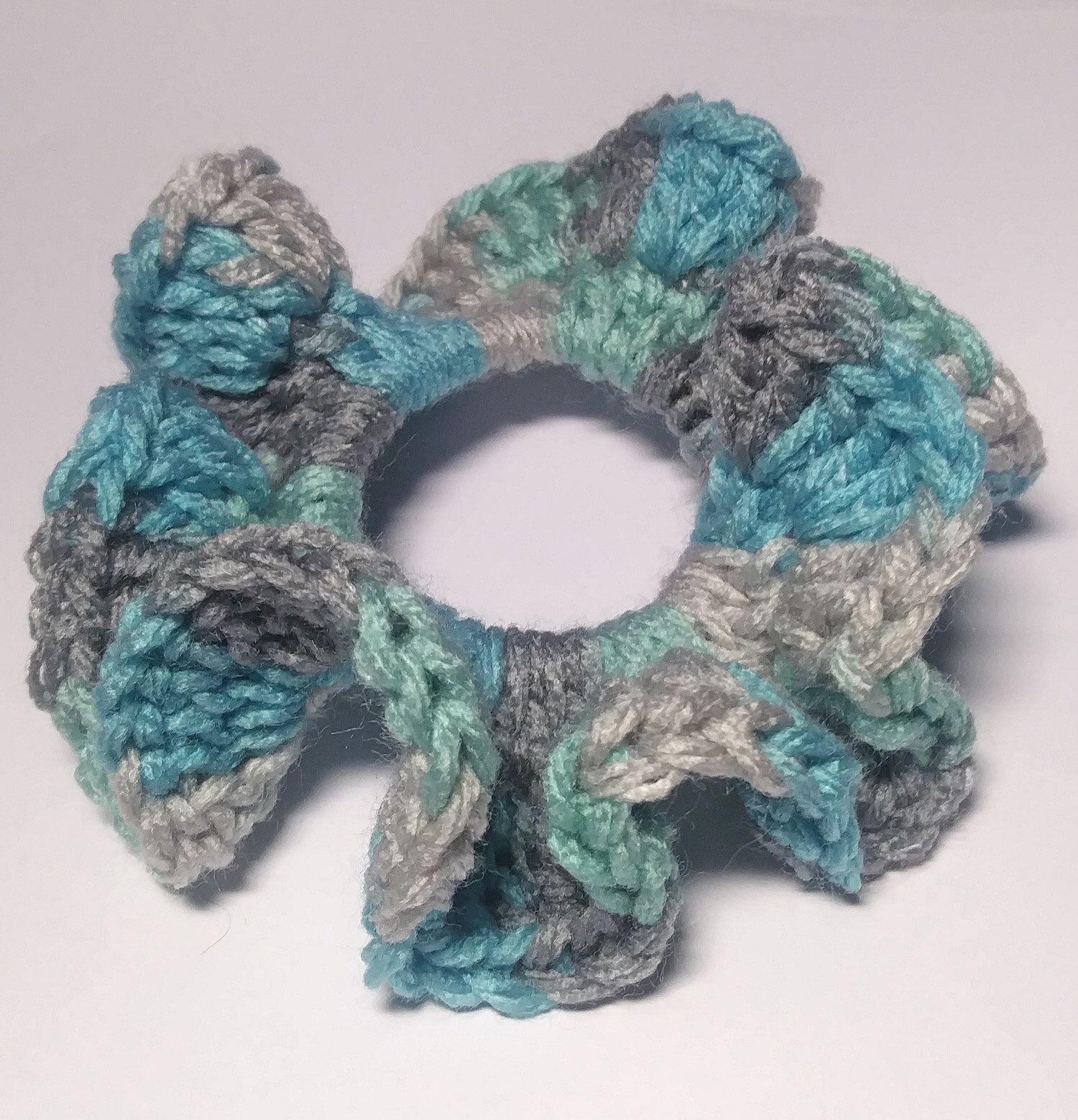 4 Crochet Hair Scruchies Set Hair Ties Hair Scrunchy Ponytail Holder Hair Accessories Hair Elastic Hair Scrunches Crochet Scrunchies #crochetscrunchies