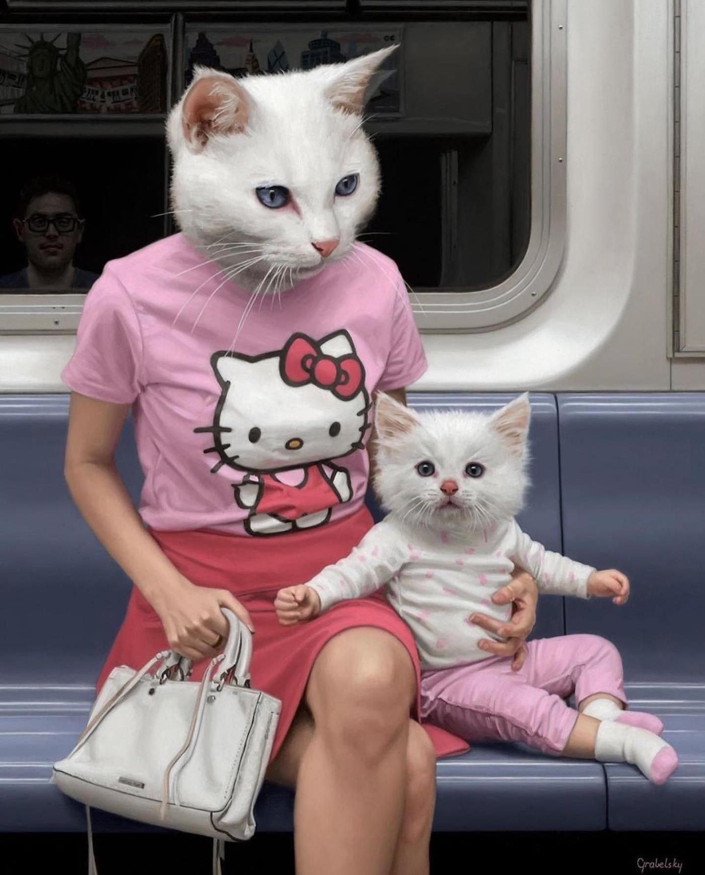 Animal Human Hybrids Spotted On New York Subway In Surreal Paintings By Matthew Grabelsky En 2020 Arte Divertido Metro De Nueva York Arte