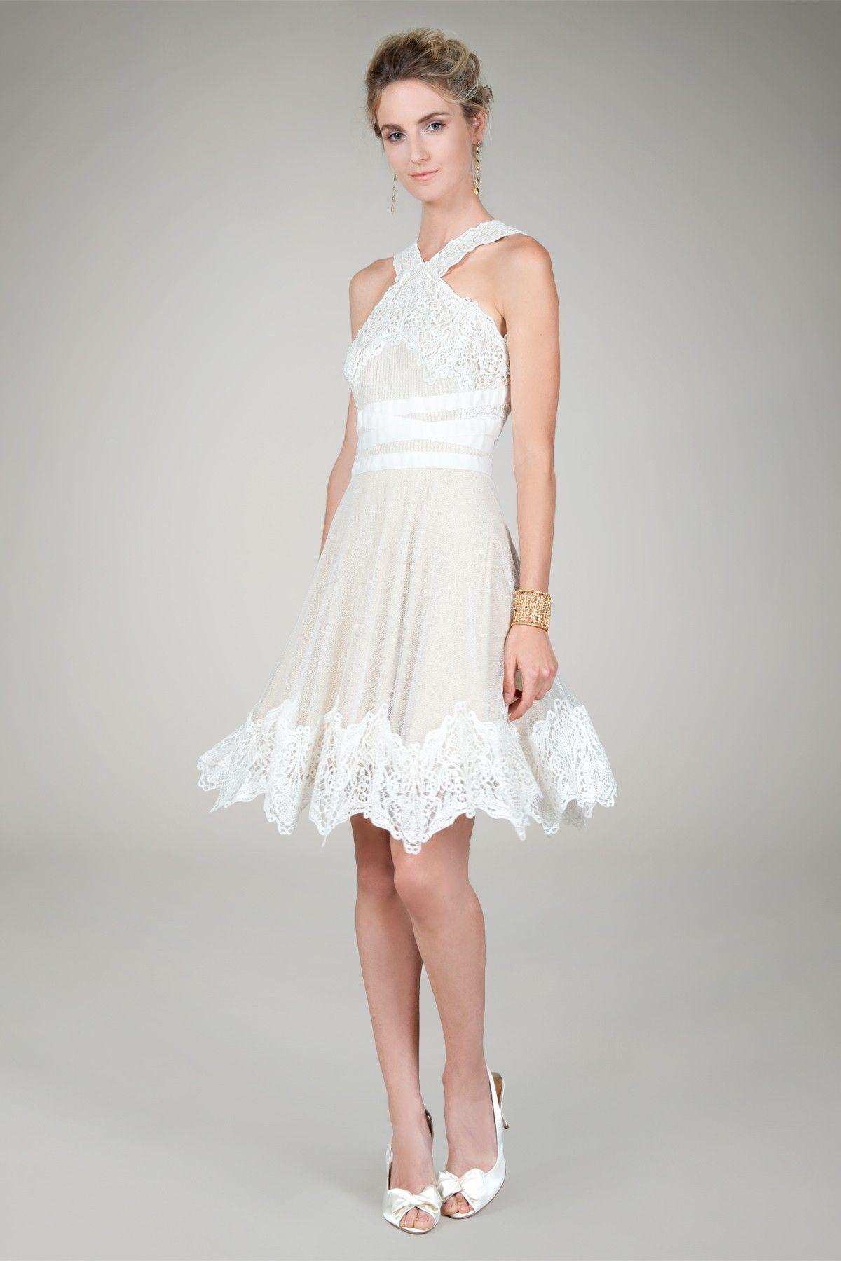 Long wedding reception dresses for the bride  Tadashi Shoji  Adrienneus Wedding  Pinterest  Bridal suite