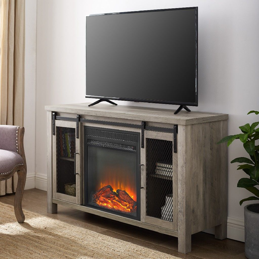 48 rustic farmhouse fireplace tv stand in grey wash