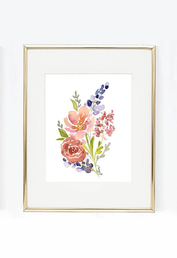 Purple Lavender And Roses Watercolor Flower Arrangement Print