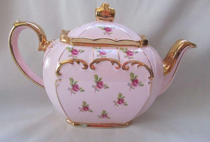 Sadler teapot round globe shape floral with pink roses /& gold trim
