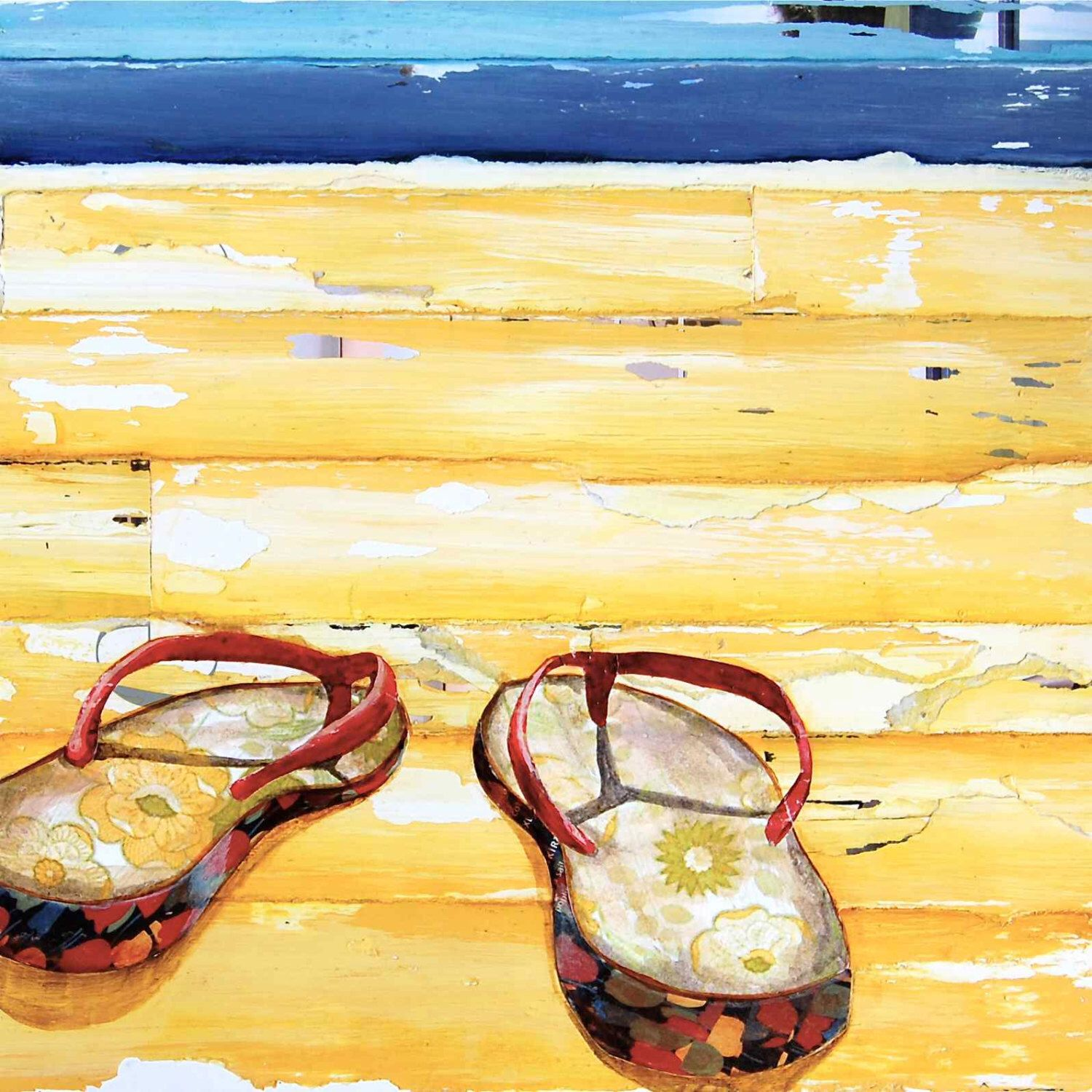 BEACH ART PRINT, sandals, flip flops, sea, beach print, beach decor ...