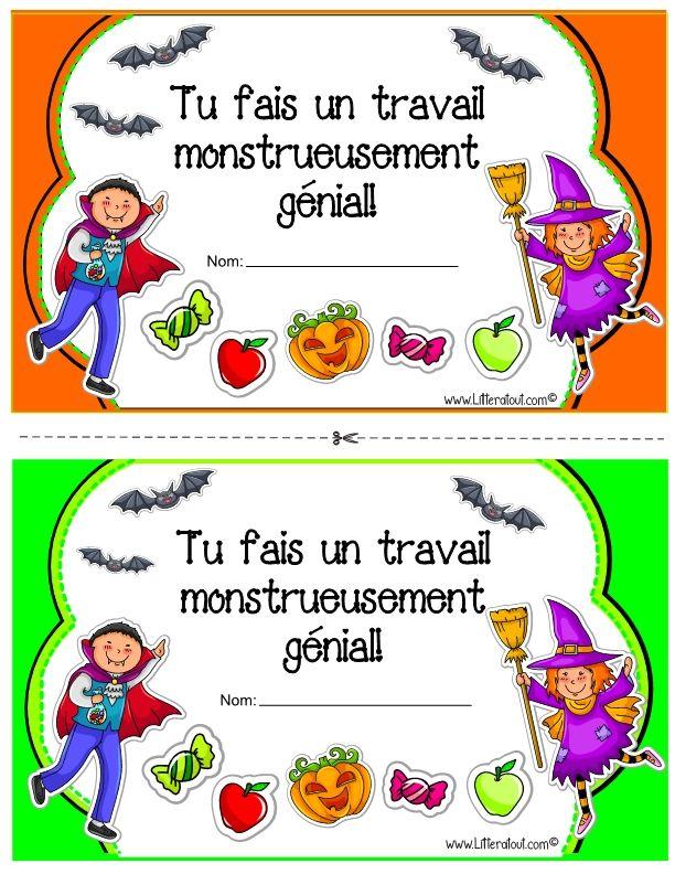 Halloween Certificates In French Certificat De Valorisation Sur Le