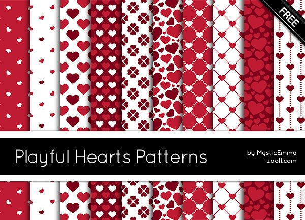 Goodies: Playful Hearts Patterns #photoshop #photoshoppatterns #patterns #ValentinesDay