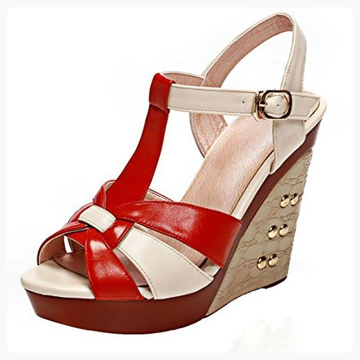 AIYOUMEI Women's Peep Toe T Strap Platform Wedge Sandals with Rivets High Heel Summer Shoes (*Partner Link)