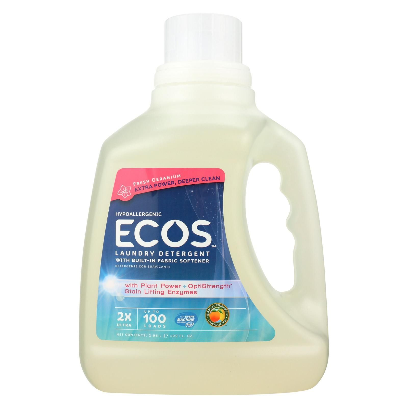 Earth Friendly 2x Ultra Laundry Detergent Fresh Geranium Case Of 4 100 Fl Oz Natural Laundry Detergent Laundry Liquid Ecos Laundry Detergent