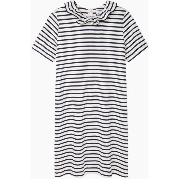 Charles Anastase Medici Dress (620 MYR) ❤ liked on Polyvore featuring dresses, navy stripe dress, tshirt dress, mini dress, cotton t shirt dress and short sleeve t shirt dress