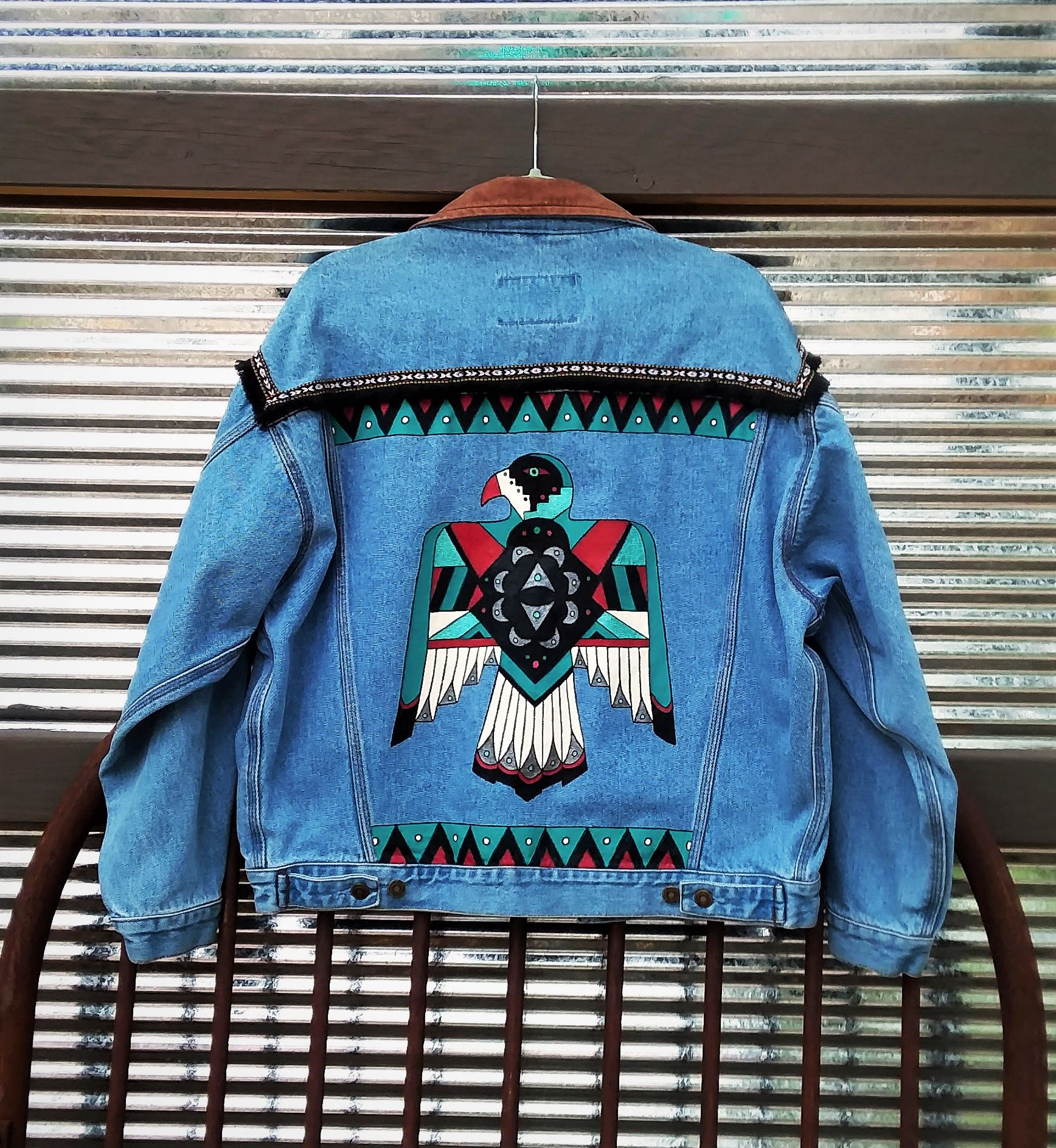 Hand Painted Southwest Thunderbird On Up Cycled Denim Jean Jacket With Leather Collar By Bleud Diy Denim Jacket Painted Denim Jacket Hand Painted Denim Jacket [ 1888 x 1736 Pixel ]
