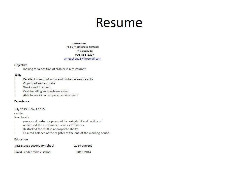 Ameesha parhar (ameesha_parhar) on Pinterest - restaurant cashier job description resume