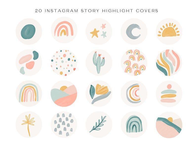 Instagram Highlight Cover | Highlight Cover Icons | Social Media Icons | Instagram Icons | Highlight Covers | Instagram | Geometric Shapes