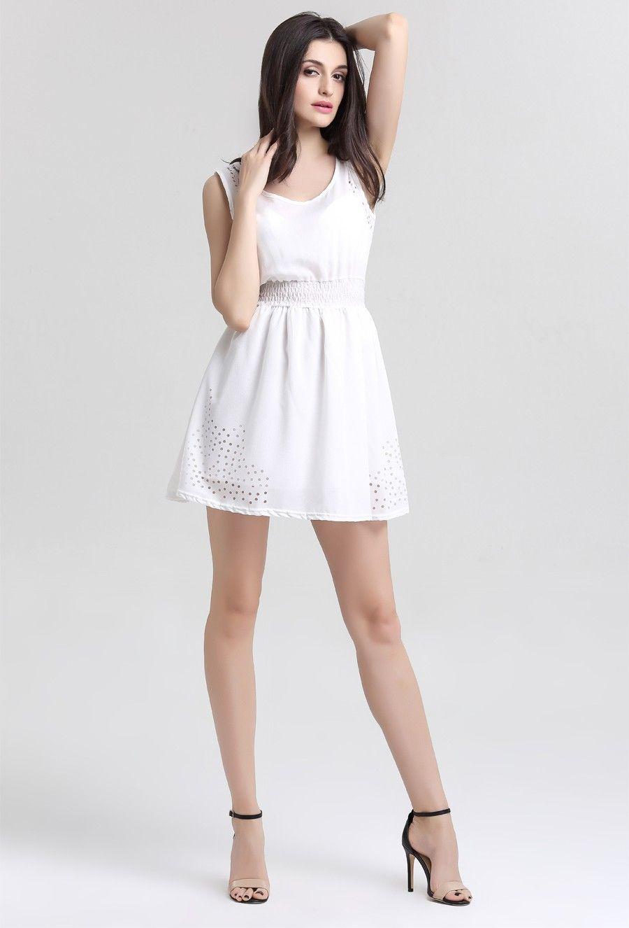 Sleeveless hollow white chiffon dress first date dress pinterest