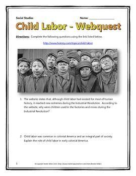 Industrial Revolution Child Labor In America Webquest With Key