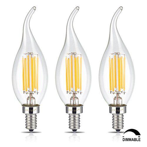 Crlight 6w Dimmable Led Filament Candle Light Bulb 3200k Soft White 600lm E12 Candelabra Base Lamp C35 Flame Shape Bent Tip Light Bulb Candle Bulb Dimmable Led