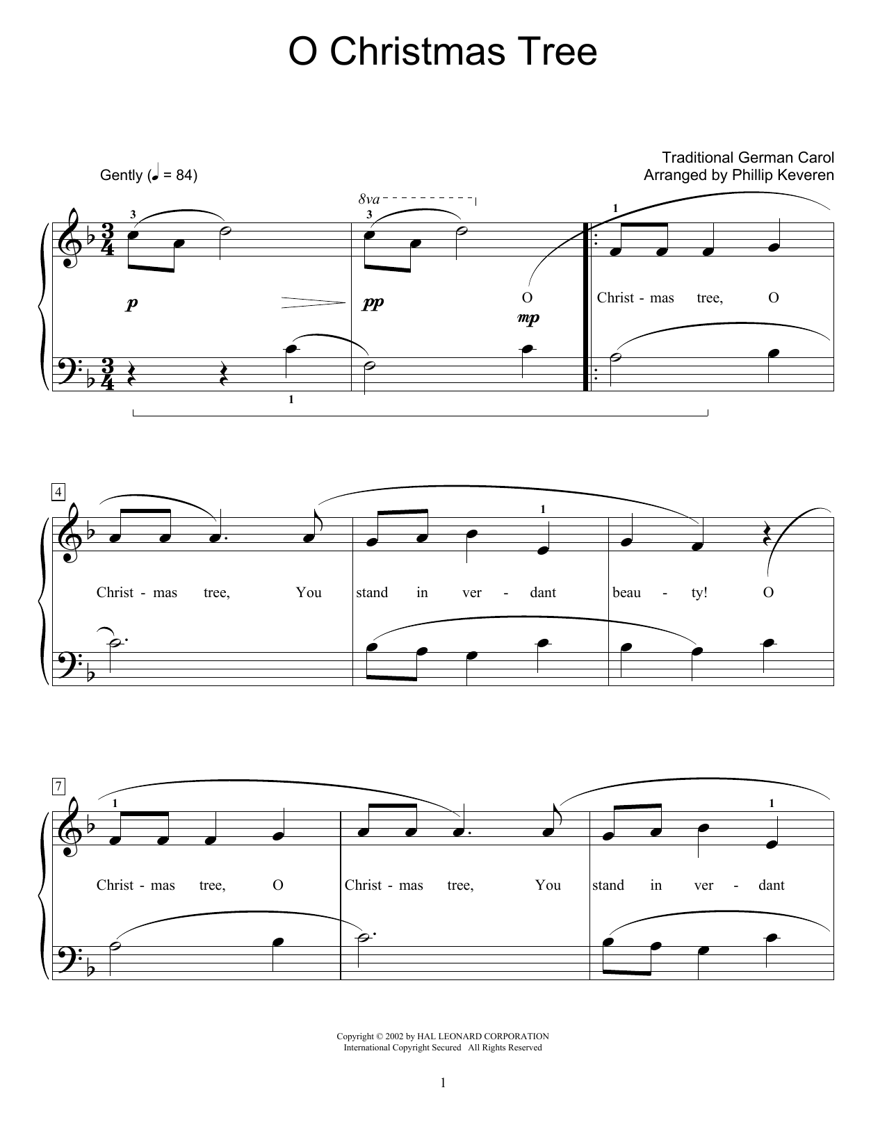 Traditional German Carol: O Christmas Tree | Partitions Piano ...