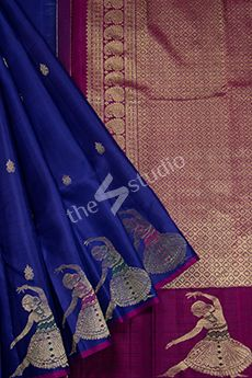 Photo of Dancing lady border with navy blue kanchipuram silk