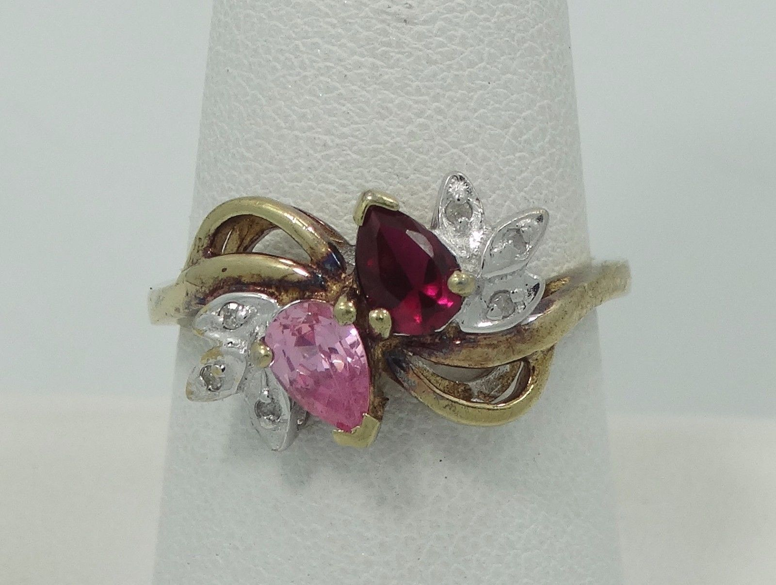 Jewelry estate k white gold vintage star ruby diamond ring size