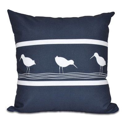 "Breakwater Bay Hancock Birdwalk Animal Print Outdoor Throw Pillow Color: Navy Blue, Size: 20"" H x 20"" W"