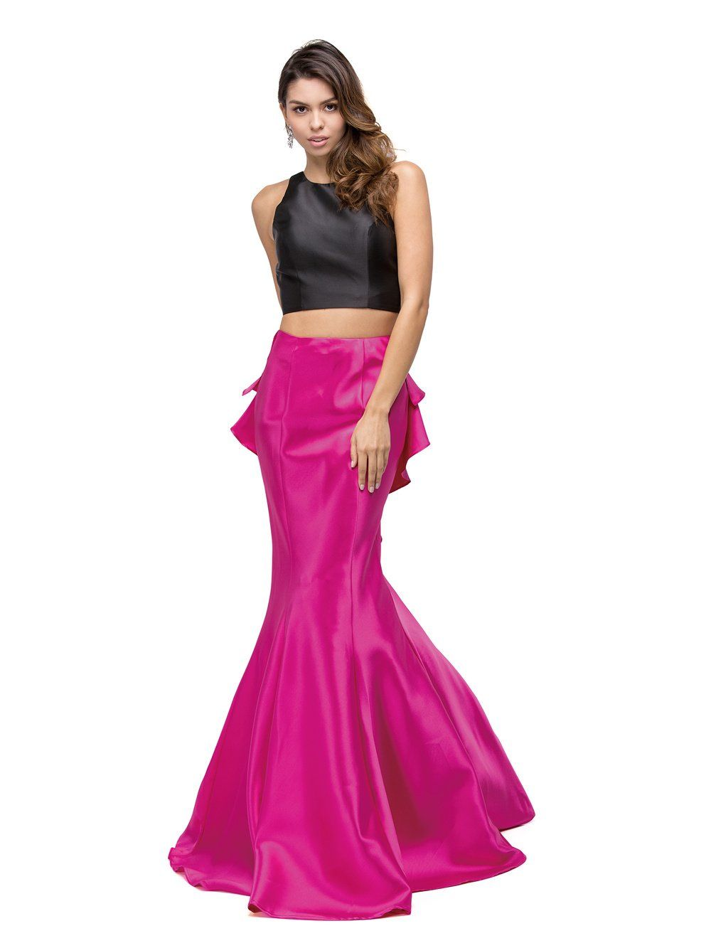 678cc9cb40c6 Short Top Long Ruffled Back Skirt Two Piece Prom Dress. Style Number: DQ  9767 Available in Black/Fuchsia, Black/Royal Blue, Black/Red