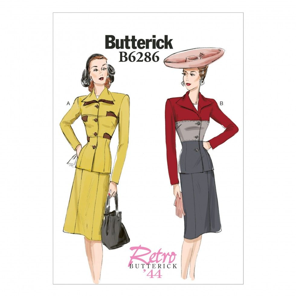 Butterick Ladies Sewing Pattern 6286 Vintage Style Panelled Jacket & Skirt Suit | Sewing | Patterns | Minerva Crafts