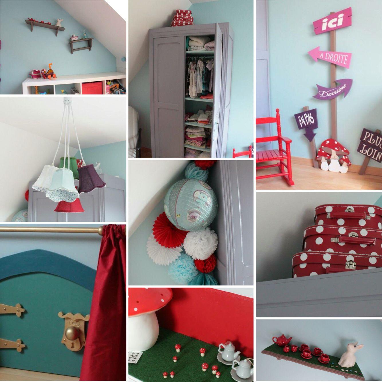 décoration chambre enfant alice au pays des merveilles diy | mes