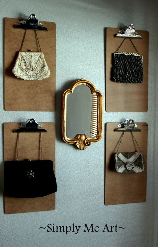 Excellent Idea For Purse Storage Looks Good You Can See Your Choices Clip Board To Hold Purses I D Hang The Handles Over Clips Prevent Damage
