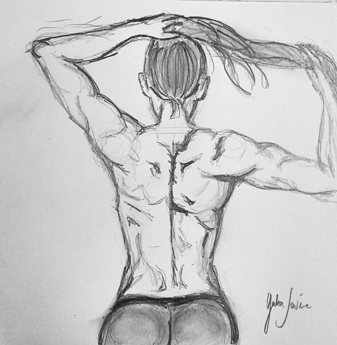 Sketch fit pencildrawing pencil draw fitness goals woman back lineart