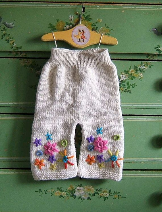 Wool Longies, Hand Knit Diaper Cover, Nappy Pants, White Embroidered ...