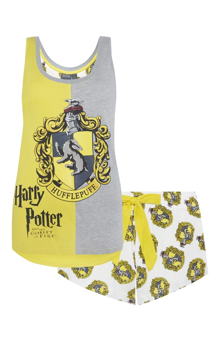 HARRY POTTER Girls Hufflepuff House Crest Cotton Tank Top Pajama Short Set