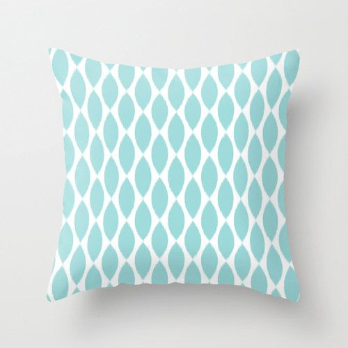 Decorative Pillows In Tiffany Blue : Velveteen Pillow - Aqua Ikat Petals - Spring Decorations - Tiffany Blue Throw Pillow - Teen Room ...