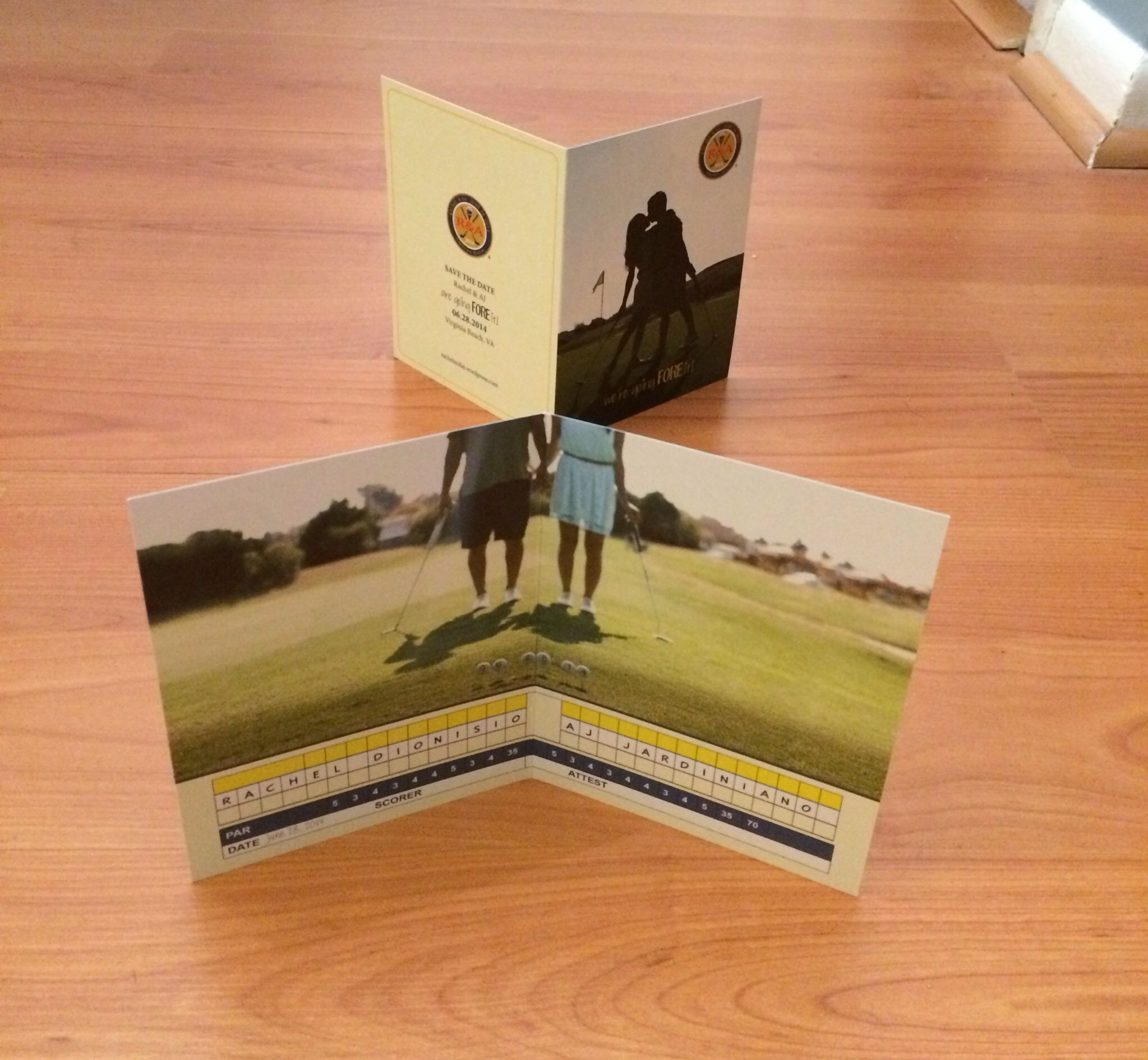 sample wording for save the date wedding cards%0A Our golf themed wedding savethedate card  We u    re going FORE