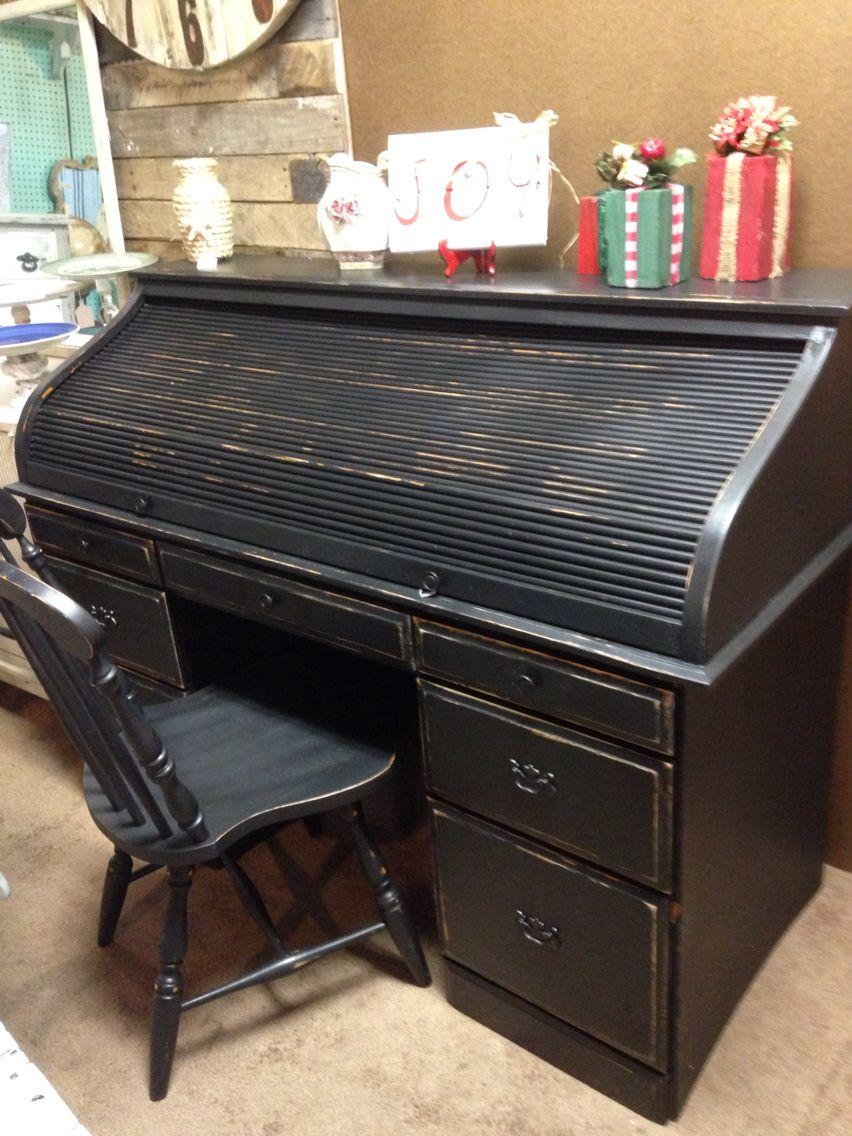 Black Distress Roll Top Desk Roll Top Desk Roll Top Desk Makeover Repurposed Furniture